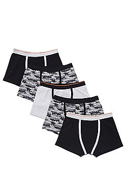 F&F 5 Pack of Camo and Monochrome Trunks with As New Technology - Grey & Black