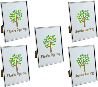 Nicola Spring Silver Metal 6x8 Photo Frame - Standing - Pack Of 5