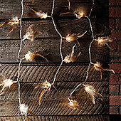 30 Brown Woodland Feather Indoor LED Fairy Lights