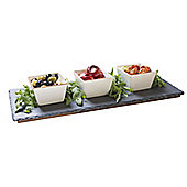 Occasion Slate Dip or Meze Set Includes 3 Square Serving Bowls with Rose Gold Rim & Wooden Base Stand 44x18cm