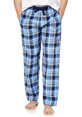 F&F Checked Flannel Lounge Pants L Blue