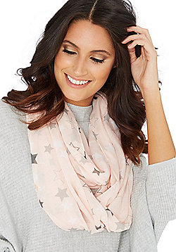 F&F Star Foil Print Snood - Pink