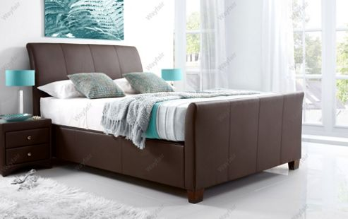 Kaydian Allendale Leather Ottoman Storage Bed - Double - Brown