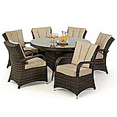 Maze Rattan - Texas 6 Seat Dining Set - 1.35m Round - Brown