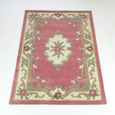 Home Essence Lotus Premium Aubusson Pink Contemporary Rug - Wedge 127cm x 67cm (4 ft 2 in x 2 ft 2.5 in)