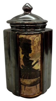 In Silhouette Bronze Finish Lidded Jar