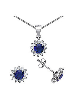 Rhodium Plated Sterling Silver Blue and White Round Brilliant Cubic Zirconia Cluster Necklace 18 inch