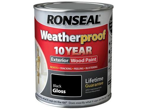 Ronseal RSLWPBLK25L 2. 5 Litre Weatherproof Exterior Wood Paint - Black Gloss
