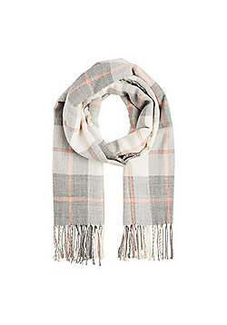 F&F Sparkle Windowpane Check Scarf - Pink & Grey