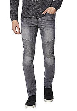 F&F Ribbed Biker Seam Stretch Skinny Jeans - Grey