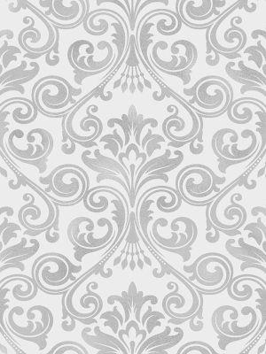 Wentworth Damask Grey & Silver Wallpaper