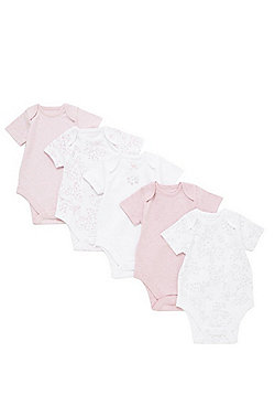 F&F 5 Pack of Floral Bodysuits - Pink