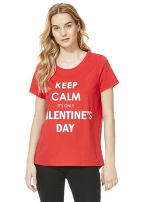 F&F Keep Calm It's Only Valentines Day Slogan T-Shirt Red 8