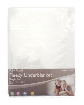 Country Club Fully Fitted Fleecy Underblanket, Single Bed