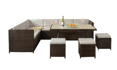 Comfy Living Garden Rattan Corner Sofa Dining Set Table BROWN with GREY Cushions