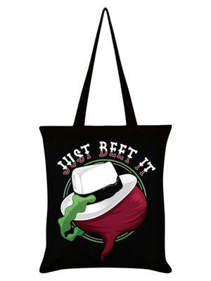 Just Beet It Vegan Vegetarian Tote Bag 38 x 42cm, Black