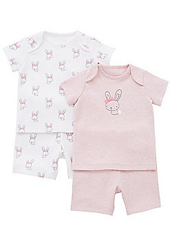 F&F 2 Pack of Bunny Print Pyjamas - Pink & White