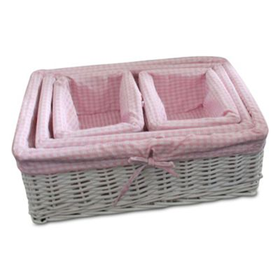 Set of 4 Pink Gingham Lined Willow Wicker Baskets