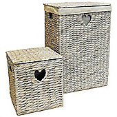 Weave - Natural Woven Water Hyacinth Lined Linen / Laundry Basket And Storage Box - Whitewash
