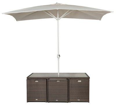 giardino large glass dining table cube set with 6 highback chairs including parasol rattan garden furniture