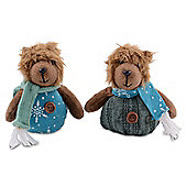 Set of Two Wintry Hanging Bear Christmas Tree Decorations