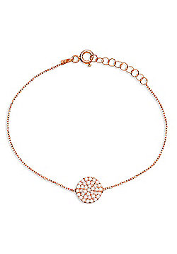 Rose gold plated sterling silver bracelet with pave circle
