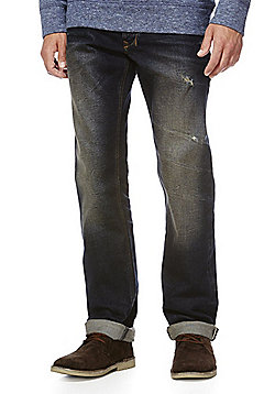 F&F Rip and Repair Selvedge Straight Leg Jeans - Dark wash