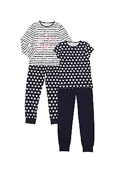 F&F 2 Pack of Cat Print Pyjamas - Navy