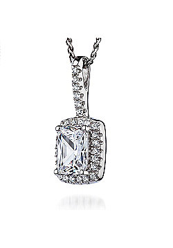 REAL Effect Rhodium Plated Sterling Silver White Cubic Zirconia Rectangle, Large Centre Cluster Pendant - 16/18 inch