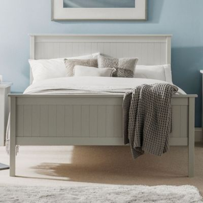 Happy Beds Maine Wood High Foot End Bed with Memory Foam Mattress - Dove Grey - 3ft Single