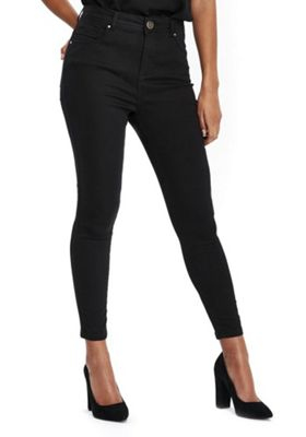 Wallis Petite Erin High Rise Skinny Jeans 18 Black
