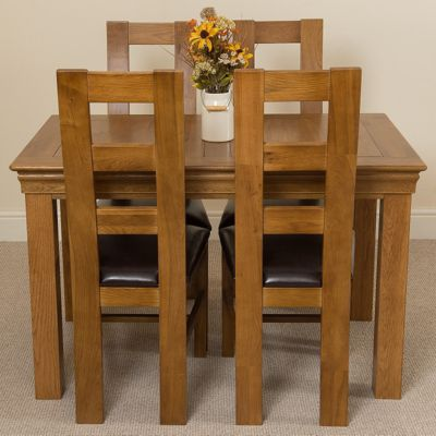 French Rustic 120cm Fixed Solid Oak Dining Table + 4 Solid Rustic Oak Chairs