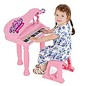 ToyStar 37 Key Musical Grand Piano With Microphone & Stool