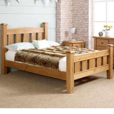 Happy Beds Woodstock Wood High Foot End Bed with Open Coil Spring Mattress - Oak - 4ft6 Double