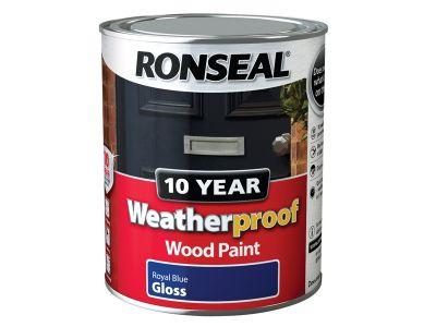 Ronseal Weatherproof 10 Year Exterior Wood Paint Royal Blue Gloss 750ml