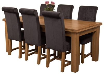Richmond Large Extending Solid Oak Dining Set Table & 6 Black Fabric Chairs