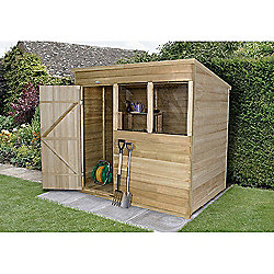 Forest Garden 7x5 Overlap Pressure Treated Pent Shed