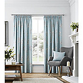 Fusion Flora Lined Pencil Pleat Curtains Duck Egg Blue - 66x90