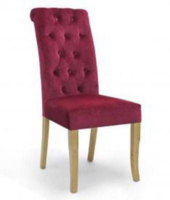 Shankar Pair of Bronte Brushed Velvet Burgundy Dining Chair