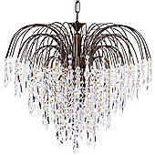 Litecraft Cascade 6 Bulb Ceiling Pendant with Crystal Droplets, Anrique Brass