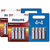 16 x Philips AA Power Alkaline LR6 Long Lasting Batteries