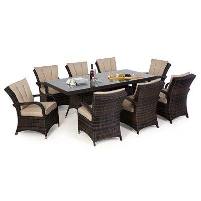 Maze Rattan - Texas 8 Seat Set - 2m x 1m Rectangular - Brown