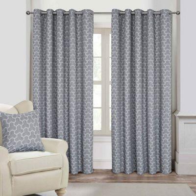 Grey Geometric Jacquard Blackout Eyelet Curtain Pair, 90 x 72