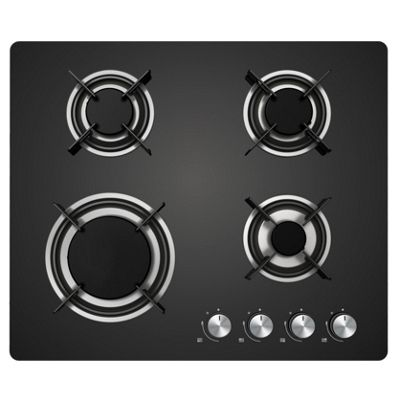 Cookology GGH600BK Gas-on-Glass Hob | 60cm, Built-in, Black Glass & Auto Ignition