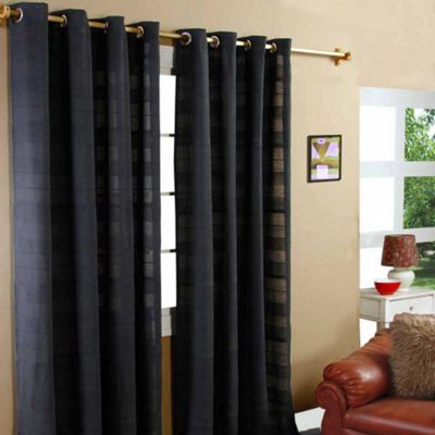 Homescapes Cotton Rajput Ribbed Black Curtain Pair, 66 x 72