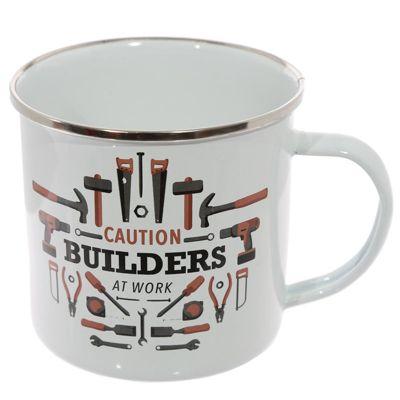 Puckator Enamel Mug, Caution Builders at Work