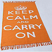 Homescapes Keep Calm And Carry On Orange White Rug Hand Woven Base, 60 x 100 cm
