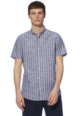 F&F Striped Chambray Short Sleeve Shirt Blue 2XL