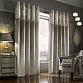 Kylie Minogue 'Esta' Silver Velvet Lined Eyelet Curtains, 66x90""