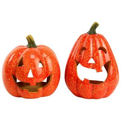 Set of 2 Ceramic Halloween Pumpkin Tea Light Lanterns